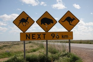 Iconic sign on the Nullarbor Plain