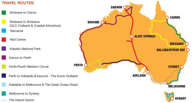 Australia Routes Map