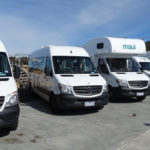 fleet of motorhomes lined up