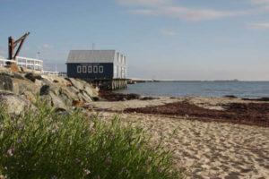 Busselton Interpretive Centre and pier beach grass blue sky sea