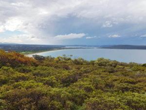 Views over Torndirrup National Park coastline sandy beach bush