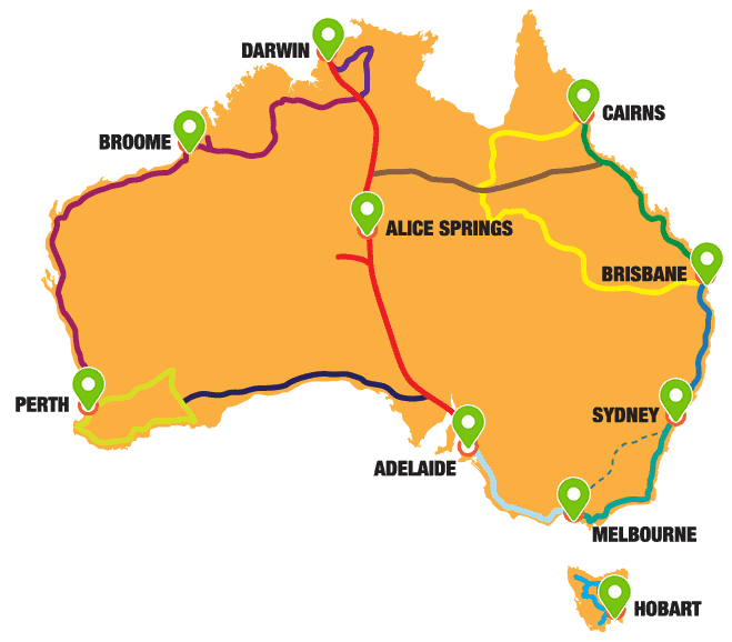 Australian map all Routes 2020