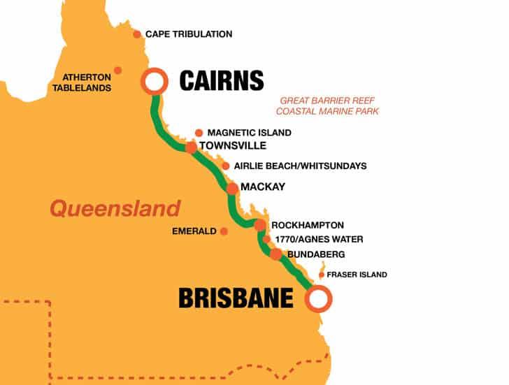 Brisbane Cairns Map