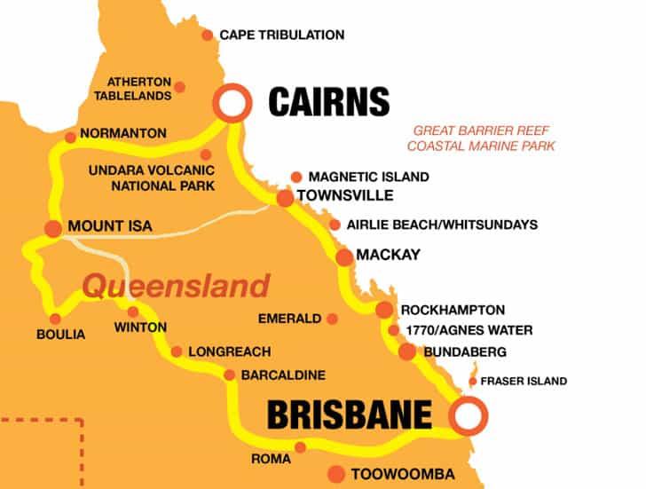 Brisbane Cairns Return Map