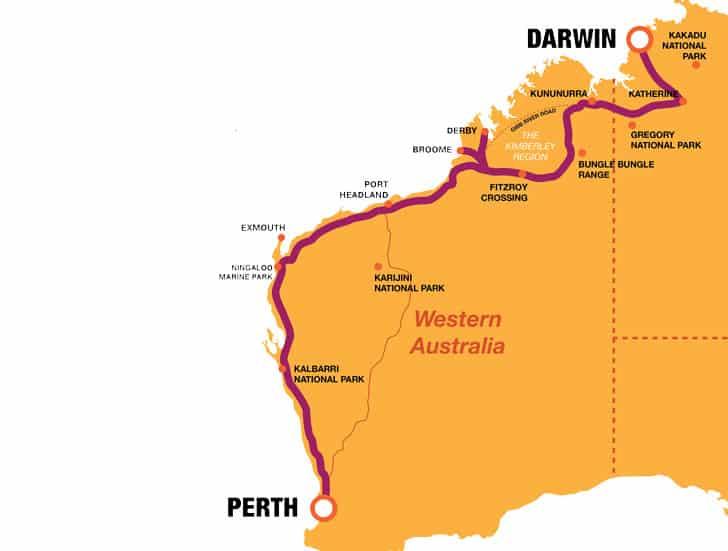 Darwin Perth Map