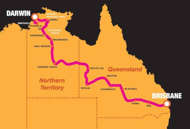Tour Brisbane Darwin Map