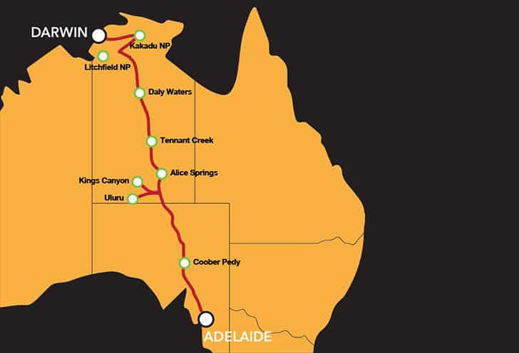 Adelaide To Darwin Map