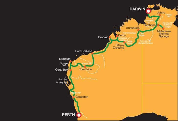 Darwin To Perth Map